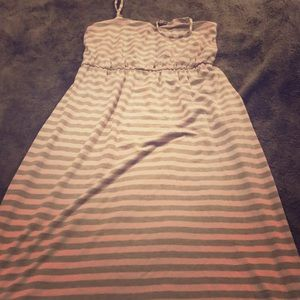 Gray and White Striped Maxi Dress